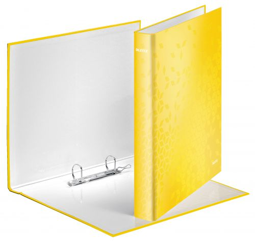 Leitz WOW Ring Binder Laminated Paper on Board 2 D-Ring A4 25mm Rings Yellow (Pack 10)
