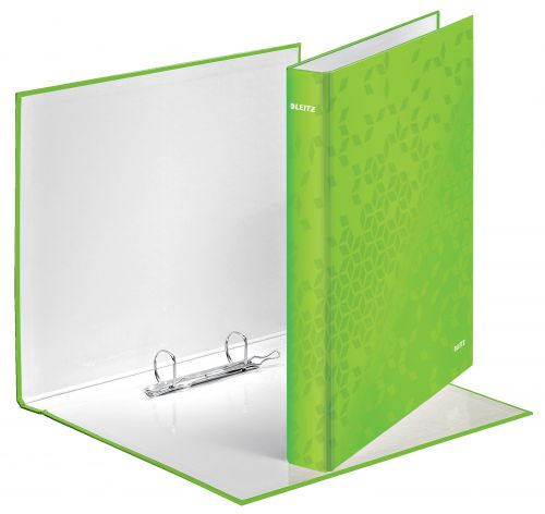 Leitz WOW Ring Binder Laminated Paper on Board 2 D-Ring A4 25mm Rings Green (Pack 10)