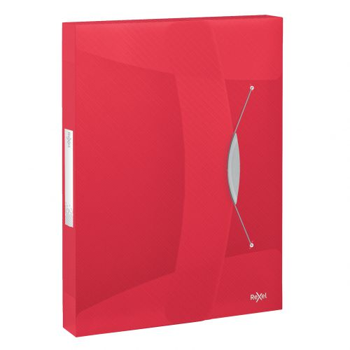Rexel Choices Translucent Box File, A4, 350 Sheet Capacity, Red - Outer carton of 5