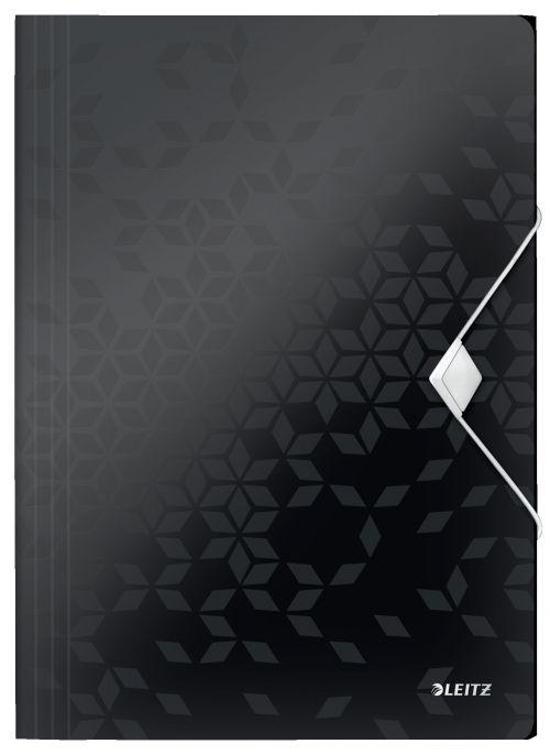 Leitz WOW 3-Flap Folder. Polypropylene. 150 sheet capacity. A4. Black. - Outer carton of 10