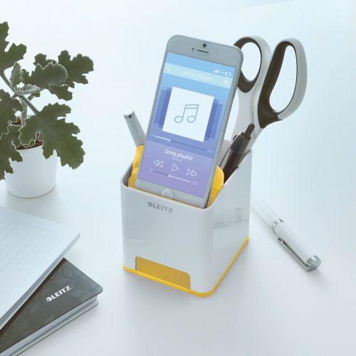 Leitz WOW Sound Pen Holder Dual Colour White/Yellow 53631016 LZ12208