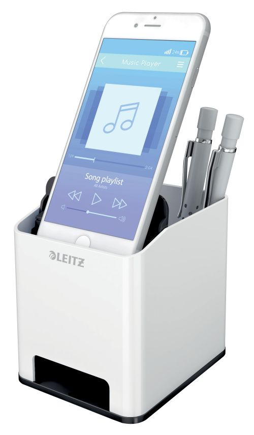 Leitz WOW Sound Pen Holder Dual Colour White/Black 53631095 LZ12211