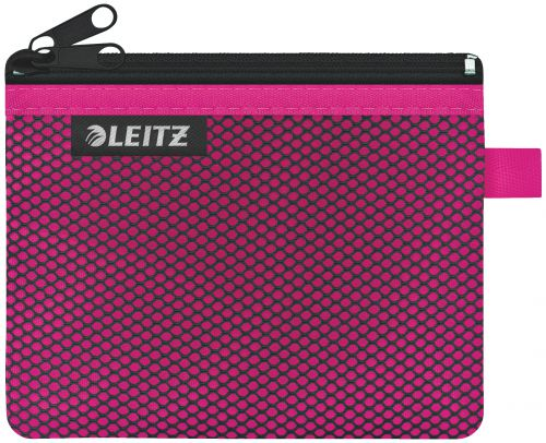 Leitz WOW 2-pocket Travel Pouch S. Size: 14x10.5 cm. See-through and opaque pockets. Pink - Outer carton of 10