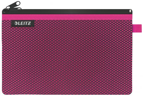 Leitz WOW 2-pocket Travel Pouch L. Size: 23x15 cm. See-through and opaque pockets. Pink - Outer carton of 10