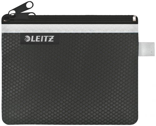 Leitz WOW 2-pocket Travel Pouch S. Size: 14x10.5 cm. See-through and opaque pockets. Black - Outer carton of 10
