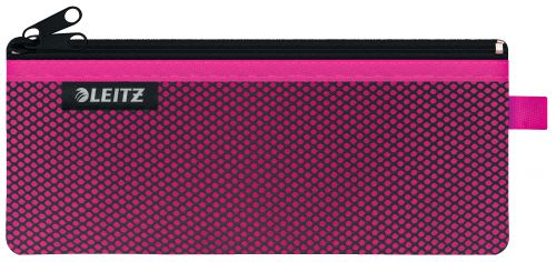Leitz WOW 2-pocket Travel Pouch M. Size: 21x8.5 cm. See-through and opaque pockets. Pink - Outer carton of 10