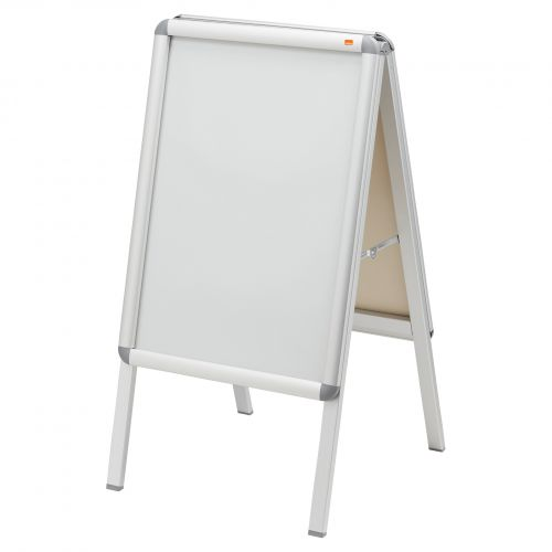 Nobo A2 A-Frame Pavement Display Board with Snap Frame; Aluminium Frame; Silver; Double Sided