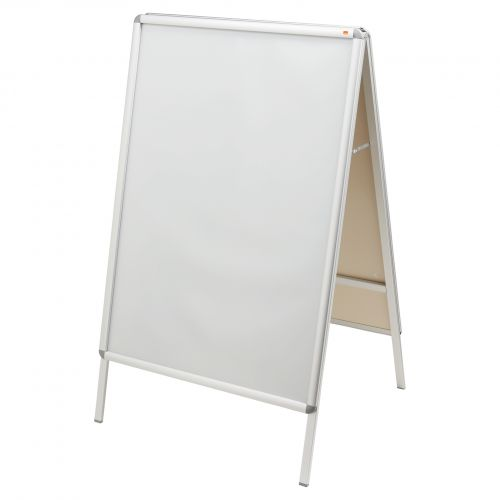 Nobo A0 A-Frame Pavement Display Board with Snap Frame; Aluminium Frame; Silver; Double Sided