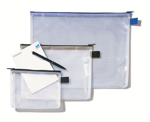Rexel Mesh Bag With Black Zip and Large A4 Capacity Clear - Outer carton of 10