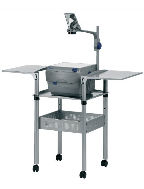 Nobo Overhead Projector Trolley with Folding Shelves Grey