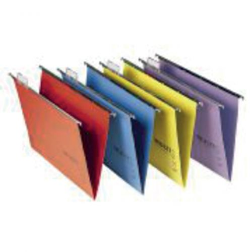 Rexel A4 Suspension Files with Tabs & Inserts for Filing Cabinets; 15mm V-base; Manilla; Assorted Colours; Multifile Plus; Pack of 20