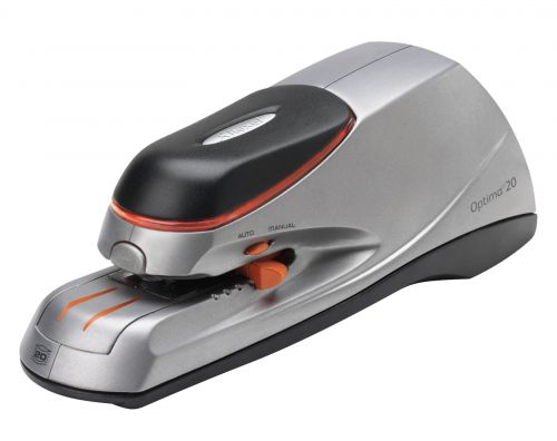 Rexel Optima 20 Electric Stapler, 20 Sheet Capacity, Includes Staples, Silver and Black