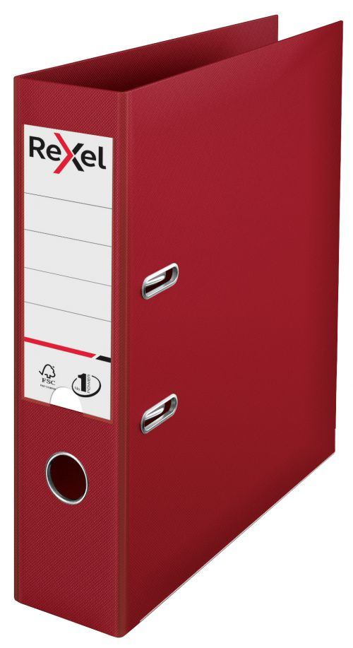 Rexel A4 Lever Arch File; Bordeaux; 75mm Spine Width; No.1 Power - Outer carton of 10
