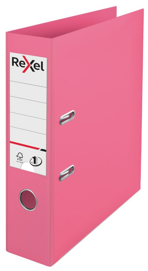 Rexel A4 Lever Arch File; Fuchsia Pink; 75mm Spine Width; Solea No.1 Power - Outer carton of 10