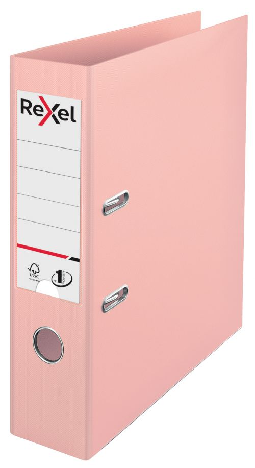 Rexel A4 Lever Arch File; Peach; 75mm Spine Width; Solea No.1 Power - Outer carton of 10