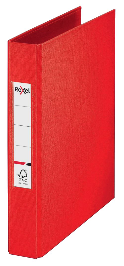 Rexel A5 Ring Binder; Red; 25mm 2 O-Ring Diameter; Choices - Outer carton of 10