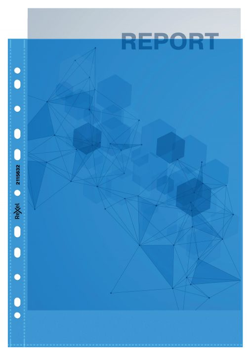 Rexel Quality A4 Punched Pockets; Blue; Pack of 10 - Outer carton of 10