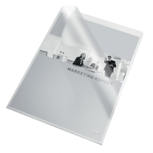 Rexel Quality A4 Document Folder; Clear Embossed; 115mic; Cut Flush; Copy Safe; Pack of 100