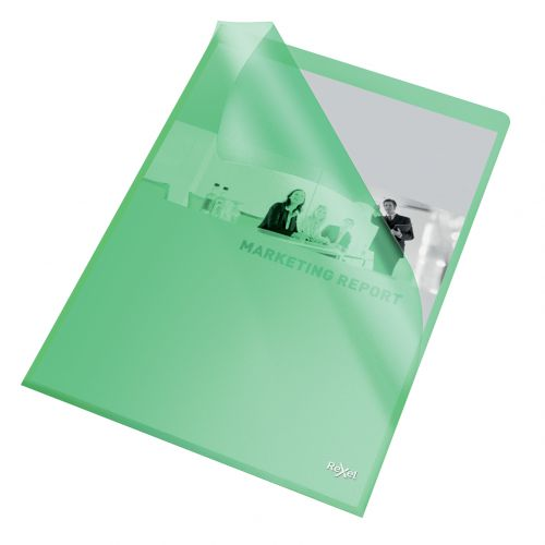 Rexel Quality A4 Document Folder; Green Embossed; 115mic; Cut Flush; Copy Safe; Pack of 100