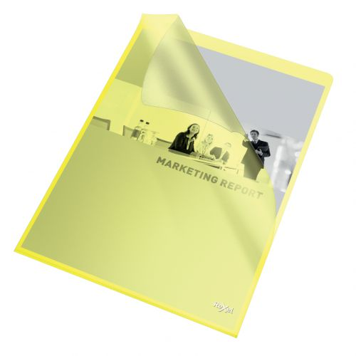 Rexel Quality A4 Document Folder; Yellow Embossed; 115mic; Cut Flush; Copy Safe; Pack of 100