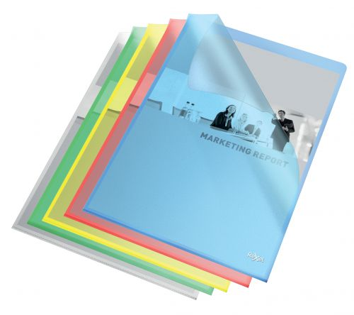 Rexel Quality A4 Document Folder; Assorted Colours; Embossed; 115mic; Cut Flush; Copy Safe; Pack of 100 - Outer carton of 4