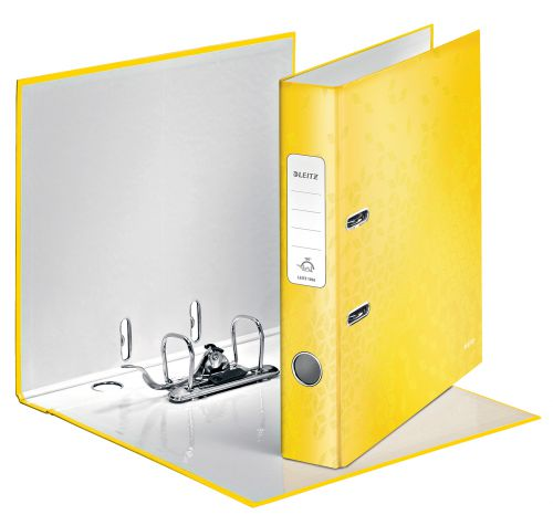 Leitz 180° WOW Laminated Lever Arch File. 50 mm. A4. Yellow. - Outer carton of 10
