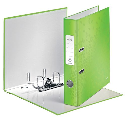 Leitz 180° WOW Laminated Lever Arch File. 50 mm. A4. Green - Outer carton of 10