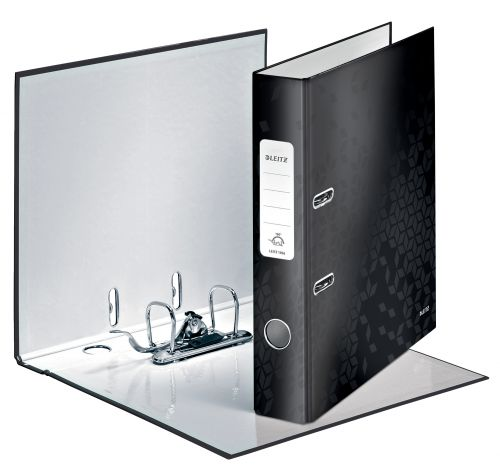 Leitz 180° WOW Laminated Lever Arch File. 50 mm. A4. Black - Outer carton of 10