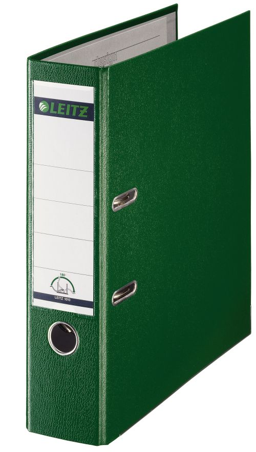 Leitz 180° Plastic Lever Arch File Foolscap 80 mm - Green  - Outer carton of 10