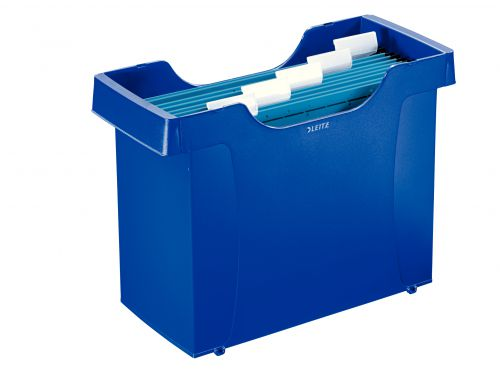 Leitz Plus Suspension Filing Unit SuPolypropylenelied with 5 Leitz Alpha suspension files, labels and label holders. Blue