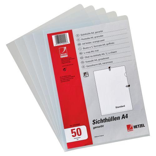 Rexel Nyrex™ Heavy Duty A4 Document Folder; Glass Clear; Heavy Duty 160mic; Cut Flush; L-Folder; Pack of 50