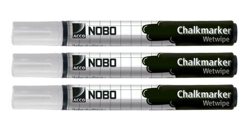 Nobo Chalk Marker - White (Pack of 3)