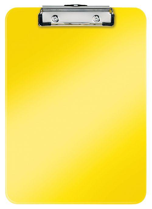 Leitz WOW Clipboard. 75 sheet capacity. A4. Yellow. - Outer carton of 10