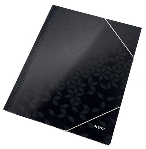 Leitz WOW Card 3-Flap Folder A4 Black - Outer carton of 10