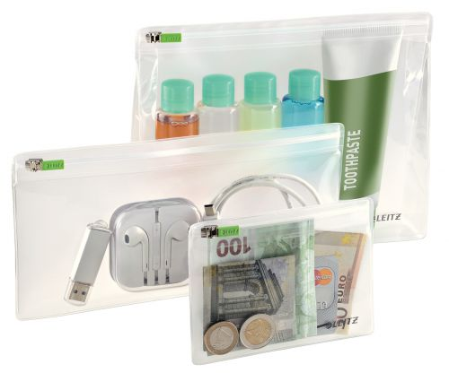Leitz Complete Traveller Zip Pouch Set, Small, Medium and Large, Clear (Pack 3)