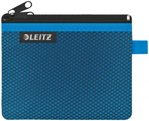 Leitz WOW 2-pocket Travel Pouch S. Size: 14x10.5 cm. See-through and opaque pockets. Blue - Outer carton of 10