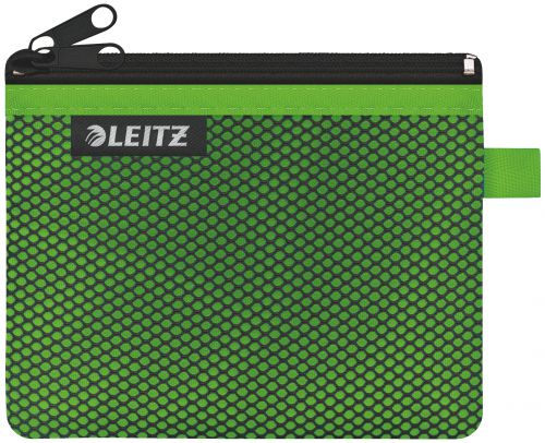 Leitz WOW 2-pocket Travel Pouch S. Size: 14x10.5 cm. See-through and opaque pockets. Green - Outer carton of 10