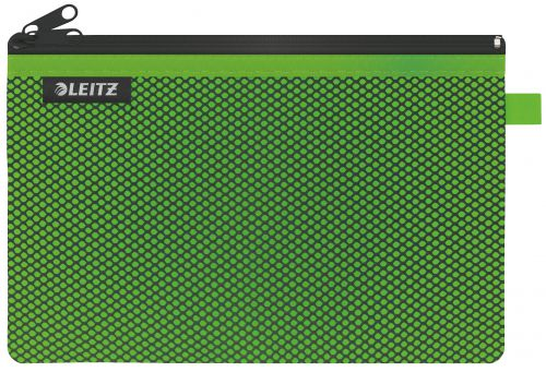 Leitz WOW 2-pocket Travel Pouch L. Size: 23x15 cm. See-through and opaque pockets. Green - Outer carton of 10