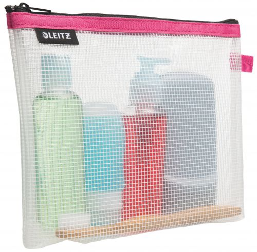 Leitz WOW water resistant Travel Pouch cosmetic. Size: 24x17x3 cm. Cosmetic pouch for hand luggage. Pink - Outer carton of 10