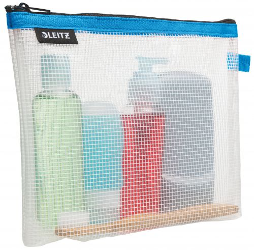 Leitz WOW water resistant Travel Pouch cosmetic. Size: 24x17x3 cm. Cosmetic pouch for hand luggage. Blue - Outer carton of 10