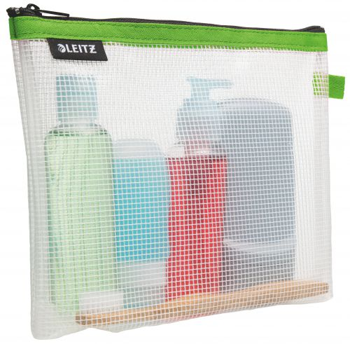 Leitz WOW water resistant Travel Pouch cosmetic. Size: 24x17x3 cm. Cosmetic pouch for hand luggage. Green - Outer carton of 10