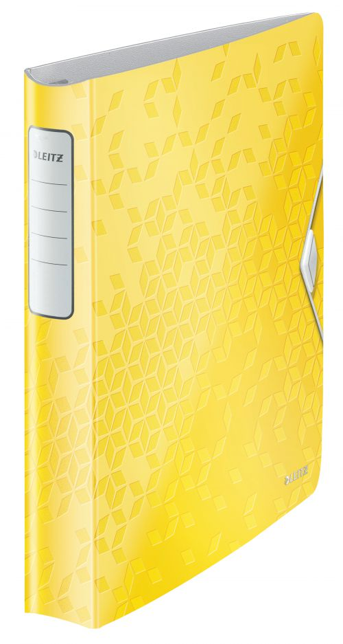 Leitz Active WOW SoftClick Ring Binder, 30 mm, 4 D Ring, A4, Yellow - Outer carton of 5