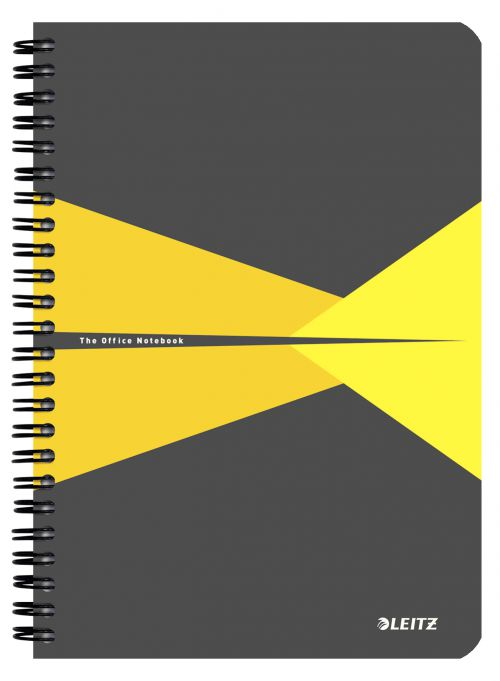 Leitz Office Notebook, Wirebound, 90 sheets, Ruled, 90gsm Ivory Paper, A5 Yellow - Outer carton of 5