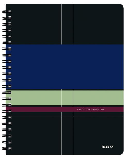 Leitz Executive Project Notebook A4 ruled, wirebound with Polypropylene cover 80 sheet - Outer carton of 6