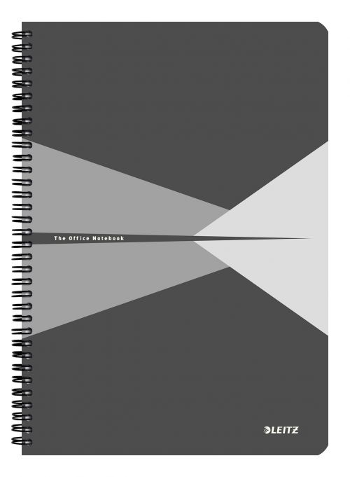 Leitz Office Notebook A4 ruled, wirebound with Polypropylene cover 90 sheets. Grey - Outer carton of 5
