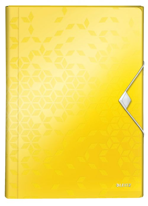 Leitz WOW Expanding File Organizer.  Polypropylene. 6 index compartments. A4. Yellow. - Outer carton of 5