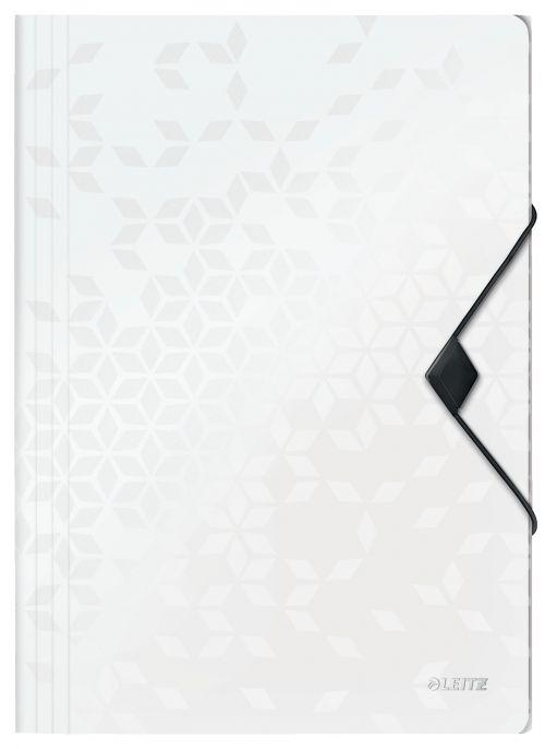 Leitz WOW 3-Flap Folder. Polypropylene. 150 sheet capacity. A4. White. - Outer carton of 10