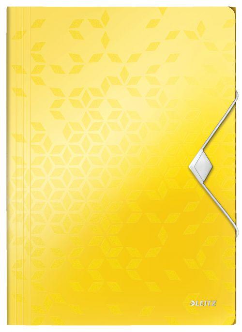Leitz WOW 3-Flap Folder. Polypropylene. 150 sheet capacity. A4. Yellow. - Outer carton of 10