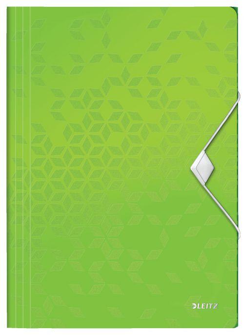 Leitz WOW 3-Flap Folder. Polypropylene. 150 sheet capacity. A4. Green. - Outer carton of 10