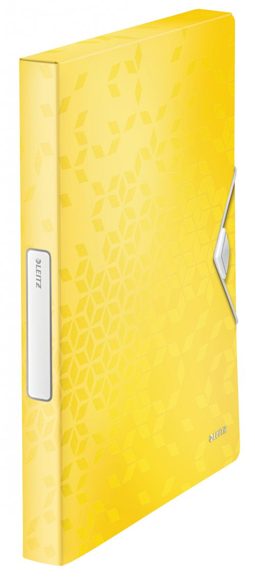 Leitz WOW Box File. Polypropylene. 250 sheet capacity. Spine width 30 mm. A4. Yellow - Outer carton of 5